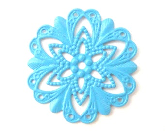 print 2 filigree turquoise connector 21mm
