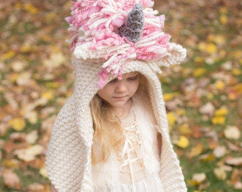 Knitting Pattern For Unicorn Hooded Scarf : HoneySweetCo on Etsy
