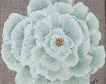 Painting on linen with flower ' chartreuse green Peony ' 20 x 20 cm
