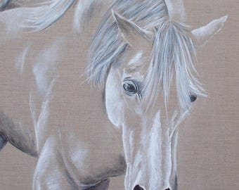"""""""Spirited white horse"""" painting, Acrylic paint on natural linen"""