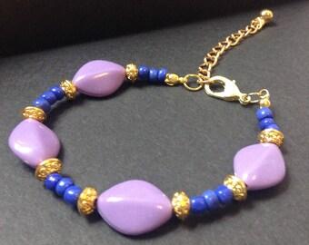 Cute Bracelet Funky Bracelet  Precious Bracelet Purple Bracelet Gold Bracelet Blue Bracelet Beaded Adjustable Bracelet Handmade Bracelet