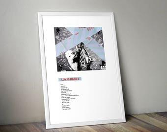 Lil Uzi Vert Luv Is Rage 2 Poster - Trap Music Posters Hip Hop Posters Gucci Mane Rap Prints Dorm Decor Wall Art Xo Tour Life Lil Yachty