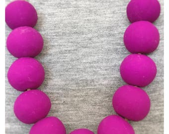 Boysenberry Beaded Polymer Clay Necklace