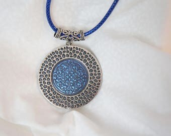 Blue gray round pendant and metal pattern embossed, metal and mandala blue circle glitter and gray necklace, unique handmade jewelry, parties
