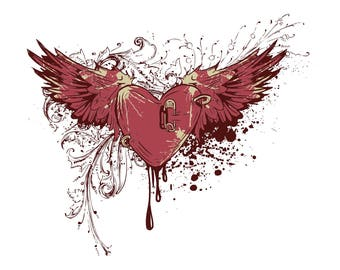 Wounded red heart with wings