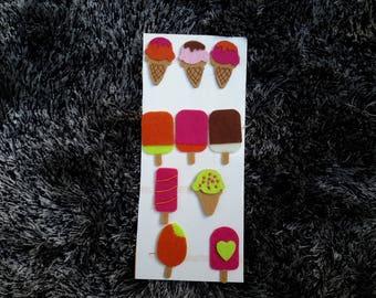 Set of 10 embellishments for srcapbooking ice