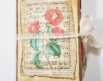 Delicate Red Jotter's Journal, Red Floral Junk Journal, Junk Journal, Red Ephemera, Vintage Junk Journal, Handmade Journal, Vintage Ephemera
