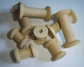 MINI 8 NATURAL WOODEN SPOOLS TO DECORATE / / 2 SIZES