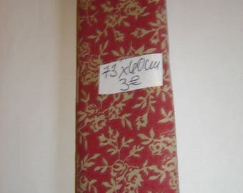 COUPON PATCHWORK cotton red & BEIGE ¤ 40 X 73 CM