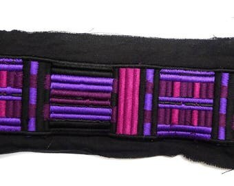 In-between 2 meters X 3.4 cm purple and pink stripe, machine embroidery, embroidered in-between