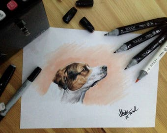 Your animal photo as Copic marker drawing on solid A4 paper