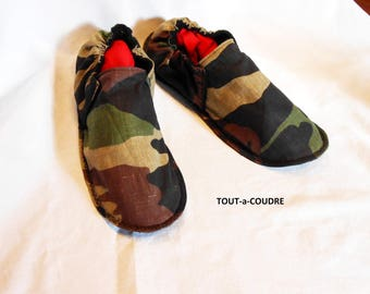 Slippers washable camouflage linen size: 42/44