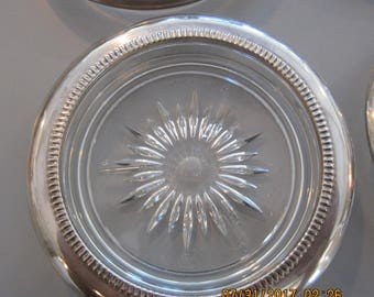 Vintage SILVER and CRYSTAL COASTERS. Made in Italy. Never used.