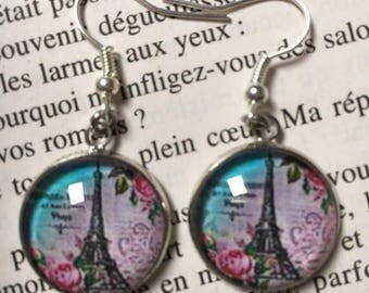 Eiffel Tower glass cabochon earrings