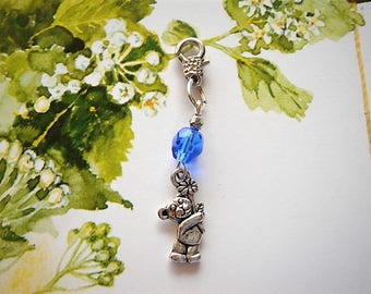 charm bear bag charm and sapphire blue Czech glass bead, charms for zipper, bag and clothes