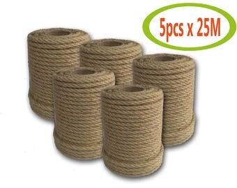 Pure Natural High Quality Jute Rope, Jute Cord, 6mm, 8mm, 5pcs х 25meter