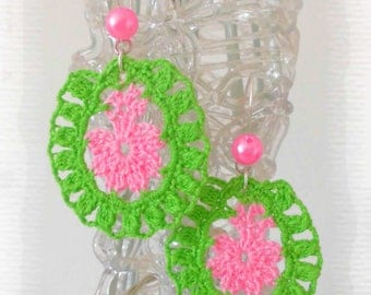 Earrings crocheted earrings drops jewelry woman gift idea for woman, Apple green and pink, Pink Pearl, original