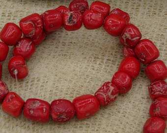 8 pearls shape red bamboo coral irregular +/-13mm