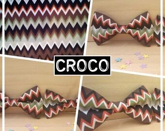 "Collection ""Croco"" bow tie adult teen child baby wave white brown orange green white"