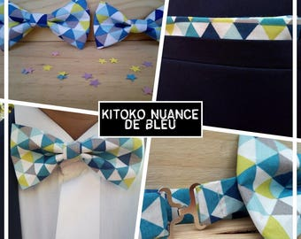 "Collection bow tie ""KITOKO shade of blue"" men/teen/child/baby"