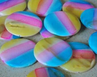 Round Pearl Pinstripe Blue / Yellow / pink