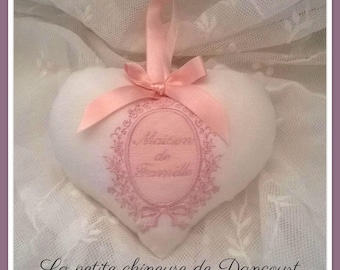 Powder pink heart shabby family house