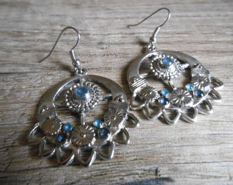 Earrings Tibetan silver blue turquoise and Navy Blue