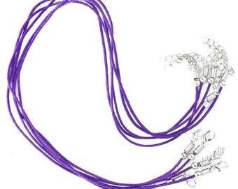 Set of 2 cords length 45 cm purple waxed cotton Choker