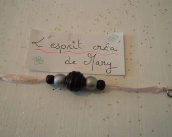 Bracelet made of satin ribbon for girl, wood beads