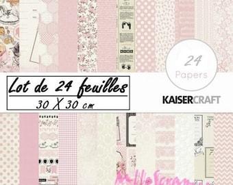 """Lot de 24 feuilles thème """"Pekaboo Girl"""" KaiserCraft's 30 X 30 cm scrapbooking(réf.210)*"""