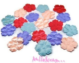 Set of 20 flowers satin fabric multicolored scrapbooking card making *.