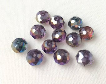random mix of 12 faceted Crystal beads, 8 mm, dark purple color green blue gold