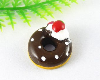 chocolate Strawberry doonut resin stick or use as a pendant, individually