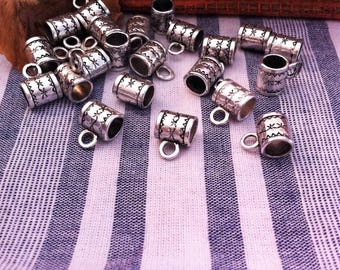 10 bails, decorated with stars, antique silver color tube shape