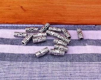 fine 10 spacer beads antique column, antique silver color