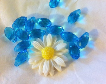 4 Crystal beads in Teardrop faceted azure blue color