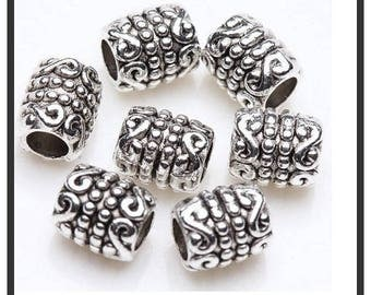 10 spacer beads decorated aged silver tube, 6 x 5 mm