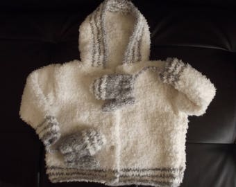 Wool coat hood and mittens 1/6 months baby