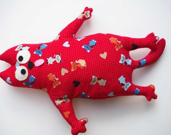 Big fat cat for decoration and game, 51x37cm, 4 legs and tail, red pattern fabric cats