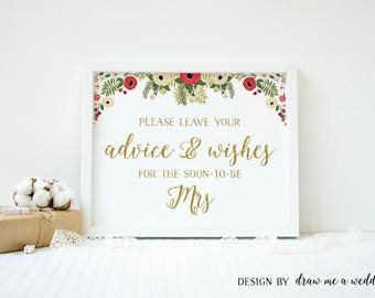 Christmas Bridal Shower Advice For The Bride , Christmas Bridal Shower Advice , Christmas Wedding Advice , Advice Sign, Printable - CH01