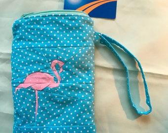 Flamingo wristlet/change purse