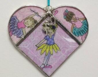 Stained Glass, Heart, Pink Ballerina, Suncatcher, Glass Sun Catcher, Gift for Her, Girls, Ballet, Home Decor, Valentine, Girls Room Decor