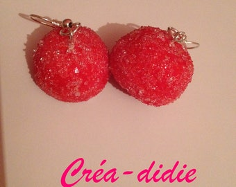 Candy red Strawberry earrings.