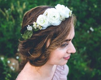 Faux FLOWER CROWN | Customizable | BOHO Hair Wreath | Wedding Bridal Hair Piece