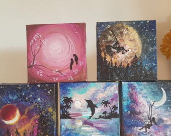 Mini Original Canvases Handmade Gift Paintings
