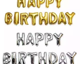 16 Inch Happy birthday Balloons Giant Jumbo Letter Balloons / Birthday Party / Baby / Bridal Shower / Gold / Silver / Mylar Gold Foil Lette
