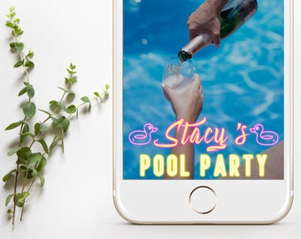 Pool Party SnapChat Filter, Neon Pool Party Geofilter, Pool Party Filter, Snapchat Pool Party Geofilter, Pool Party Snapchat,Neon Pool Party