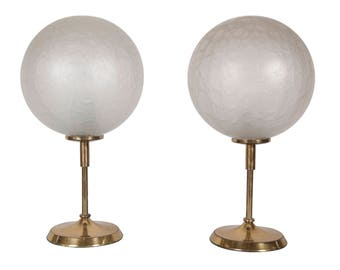Pair of Peill & Putzler 1970'2 brass and glass table lamps in working order