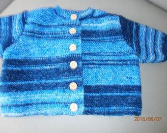 blue jacket with garter stitch newborn