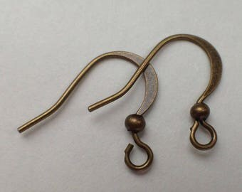 Pack 80 pc crochet earring antique brass bronze clasp backing clip 16mm